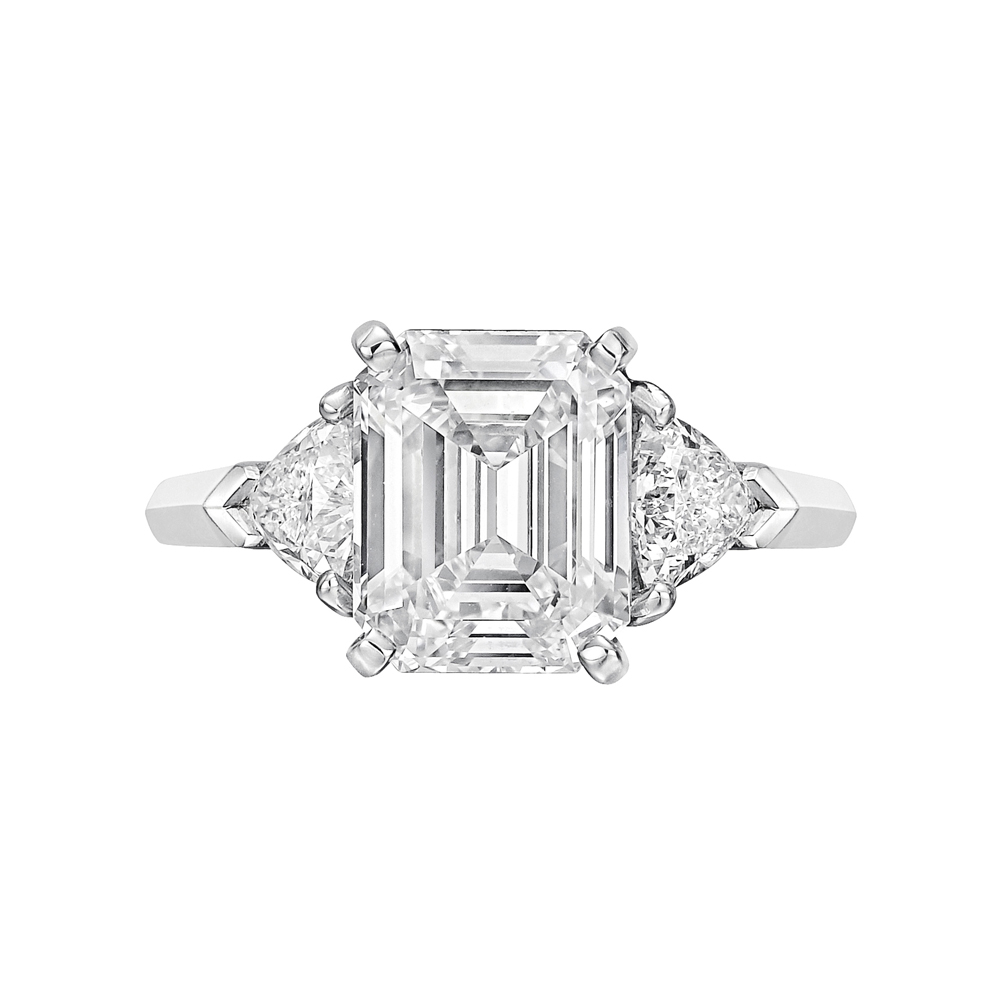 3 14 Carat Emerald Cut Diamond Ring