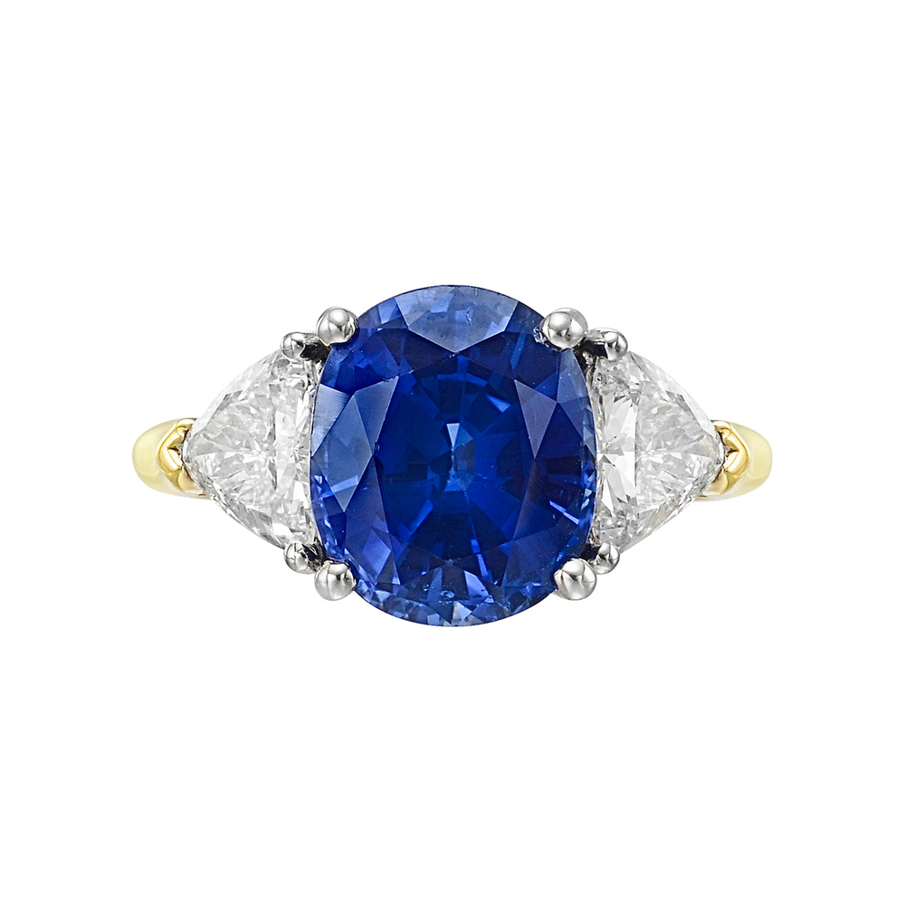 Estate Betteridge Collection 4 33 Carat Cushion Cut Sapphire & Diamond Ri
