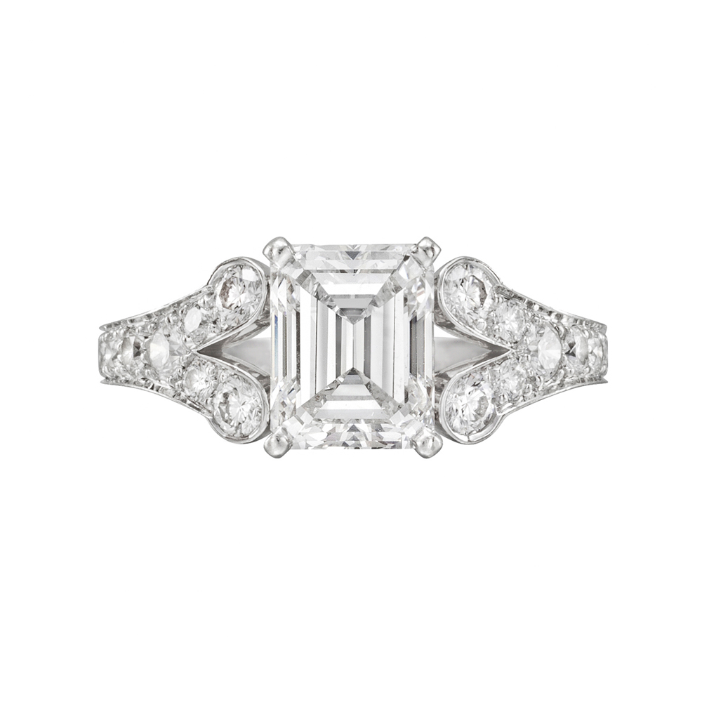 estate cartier 2 08 carat emerald cut engagement