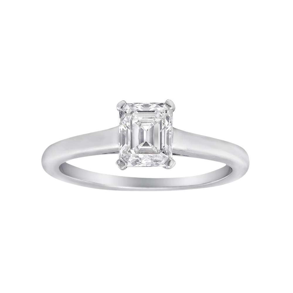 Estate Tiffany & Co 0 75 Carat Emerald Cut Diamond Ring