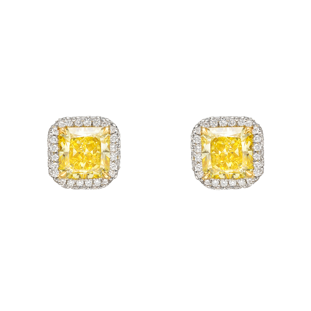 crislu collection gold halo leverback diamond canary earrings fiore yellow