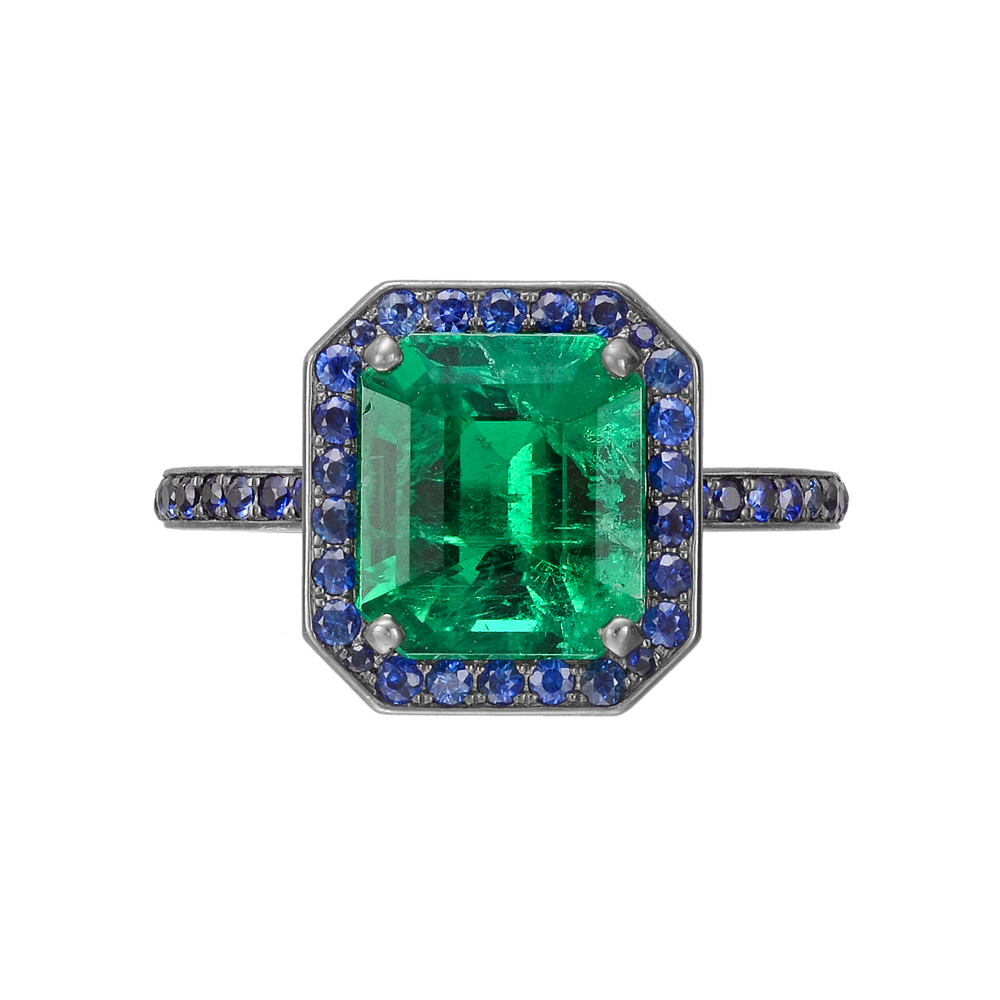 manuel bouvier emerald ring with sapphire
