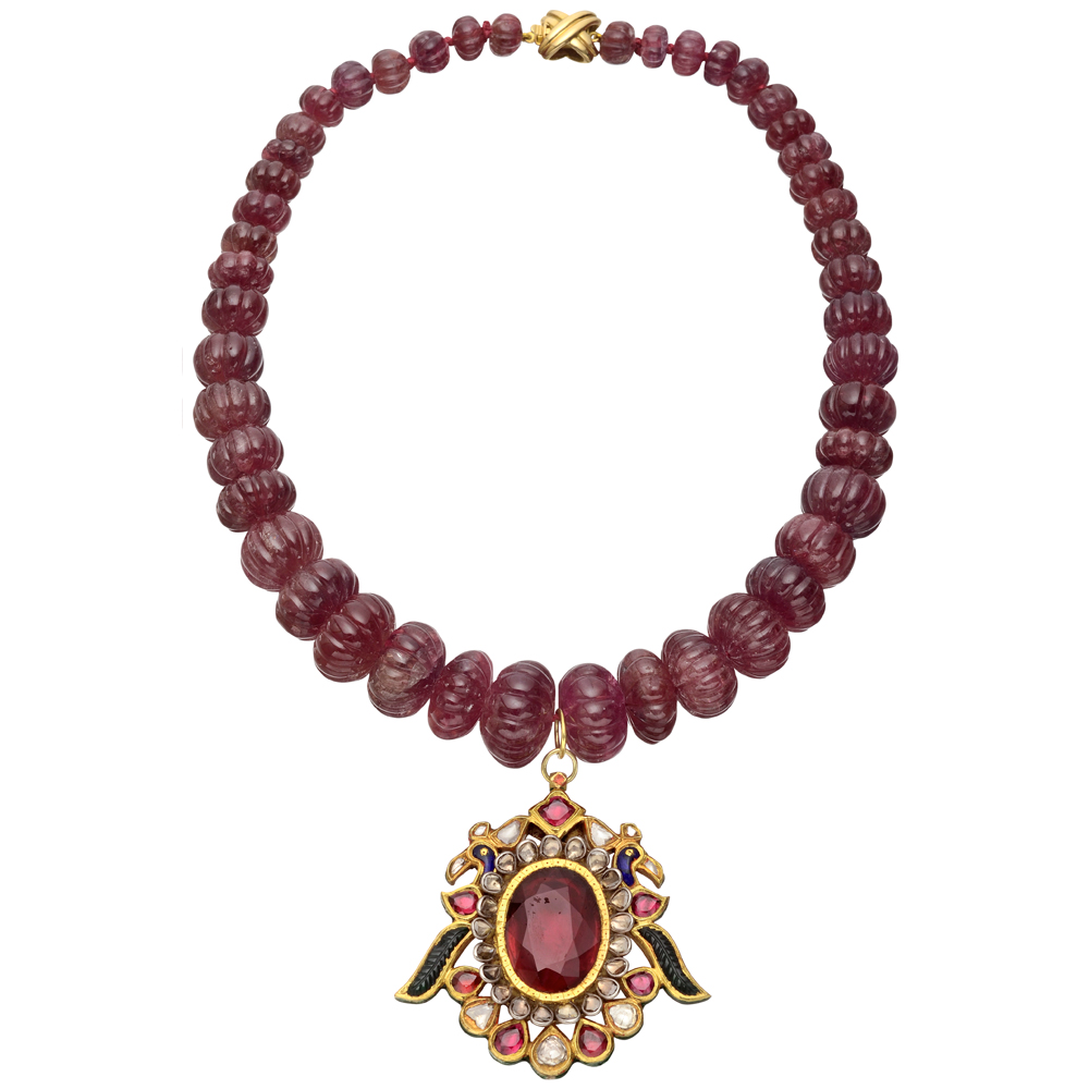ruby bead necklace with gem set indian pendant betteridge