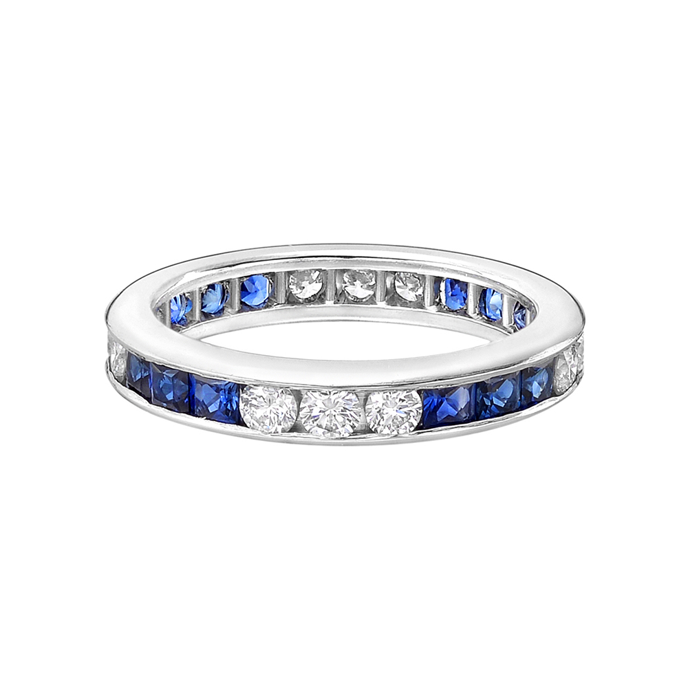 Channel Set Sapphire & Diamond Eternity Band
