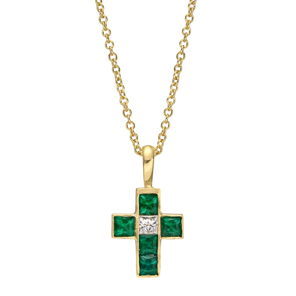 small gold emerald cross pendant betteridge