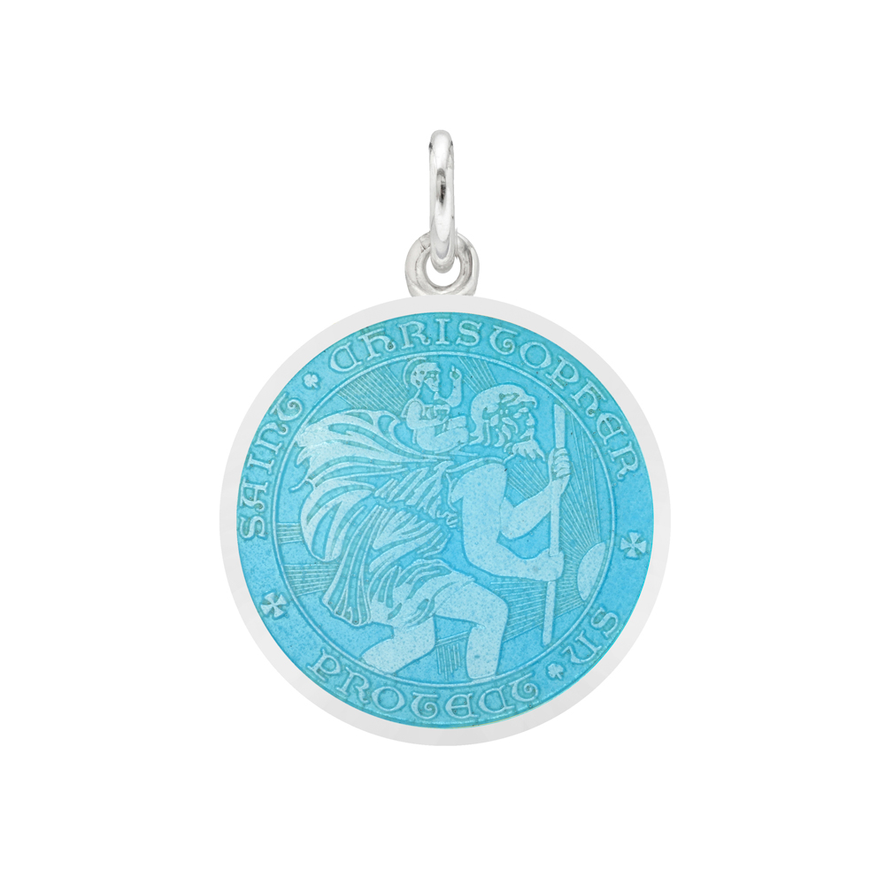 Small Silver St Christopher Medal With Light Blue Enamel