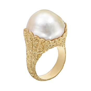 Buccellati 18k Gold Amp Baroque Pearl Ring Betteridge