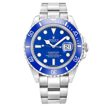 movement automatic case white gold dial blue strap bracelet white gold    Rolex Submariner White Gold