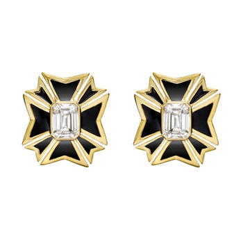 verdura maltese cross white topaz black enamel earrings maltese cross ...
