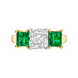 1.60 Carat Asscher-Cut Diamond & Emerald Ring