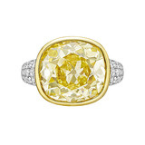 12.10 Carat Fancy Intense Yellow Diamond Ring