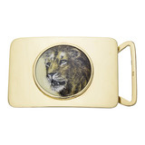 ​14k Gold & Enamel Lion Portrait Belt Buckle