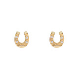 Small 14k Gold & Diamond Horseshoe Stud Earrings