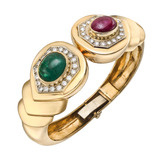 18k Gold &amp; Gem-Set Cuff Bracelet