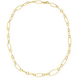 ​18k Yellow Gold Elongated Oval & Circular Link Necklace