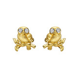 ​Small 18k Yellow Gold & Diamond Owl Earstuds