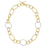 18k Gold & Pavé Diamond Oval Link Necklace