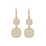 18k Gold & Pavé Diamond Drop Earrings