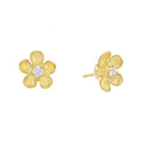 Small 18k Gold & Diamond Flower Stud Earrings
