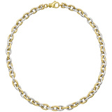 18k Yellow & White Gold Oval Link Necklace