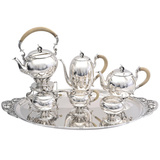 1930s 6-Piece Silver Tea & Coffee Service with Tray