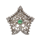 Mid-19th Century Diamond & Emerald Foliate Pin