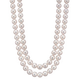 ​2-Strand Pearl Necklace with Diamond Cluster Clasp
