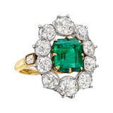 Turn-of-the-Century Emerald & Diamond Cluster Ring