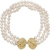 3-Strand Pearl Necklace with Diamond Double Clasp