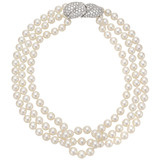 3-Strand Pearl Necklace with Pavé Diamond Clasp