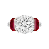 4.03 Carat Round Brilliant Diamond & Ruby Ring