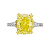 5.08 Carat Fancy Intense Yellow Diamond Ring