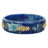 """Paxtyn"" Gem-Set Blue Marbled Bakelite Bangle"