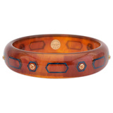 Tortoise & Blue Inlay Bakelite Bangle with Spessartite