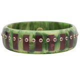 Green & Burgundy Inlay Bakelite Bangle with Rhodolite