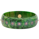 Green & Purple Inlay Bakelite Bangle with Rhodolite