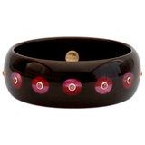 Dark Brown & Burgundy Inlay Bakelite with Rhodolite