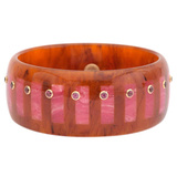 Tortoise & Pink Inlay Bakelite Bangle with Rhodolite