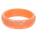 """Nova"" Gem-Set Orange Bakelite Bangle"