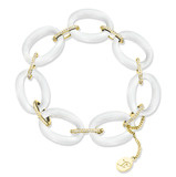 Carved White Agate & Pavé Diamond Link Bracelet