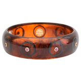 Tortoise & Blue Inlay Bakelite Bangle with Rhodolite