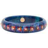Blue & Multicolored Inlay Bakelite Bangle with Spessartite