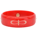 Red & Light Pink Inlay Bakelite Bangle with Spessartite