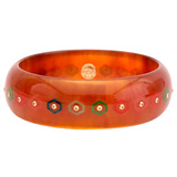 Tortoise & Multicolored Inlay Bakelite Bangle with Yellow Sapphire
