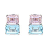 "Emerald-Cut Aquamarine & Kunzite ""Twin-Stone"" Earclips"