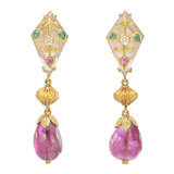 Gem-Set Kundan Crystal &amp; Tourmaline Drop Earrings