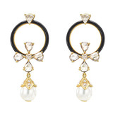 Rose-Cut Diamond, Onyx, &amp; South Sea Pearl Earrings
