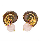 Ammonite Fossil &amp; Multicolored Gemstone Earclips