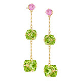 Peridot &amp; Pink Sapphire Drop Earrings