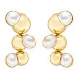 18k Gold &amp; Mabe Pearl &quot;Satellite&quot; Earrings